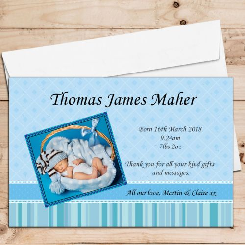 10 Personalised New Baby Boy Birth Announcement Thank you PHOTO cards N16